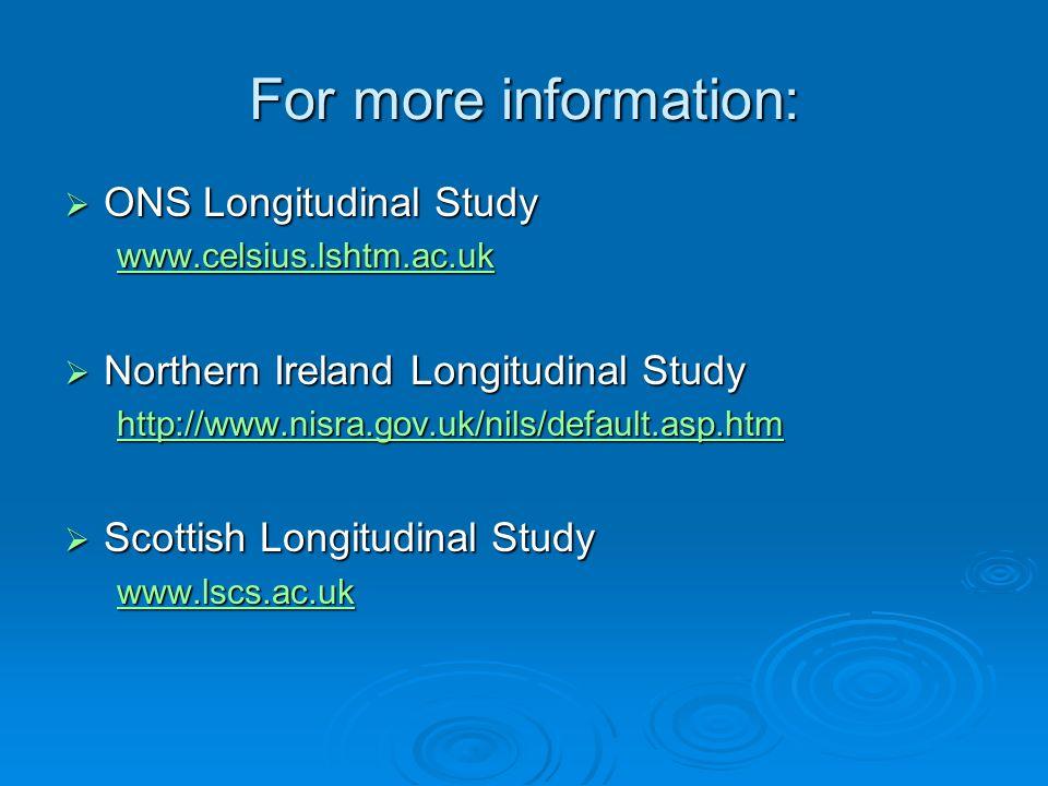 ONS Longitudinal Study ONS Longitudinal Study www.celsius.lshtm.ac.uk Northern Ireland Longitudinal Study Northern Ireland Longitudinal Study http://w