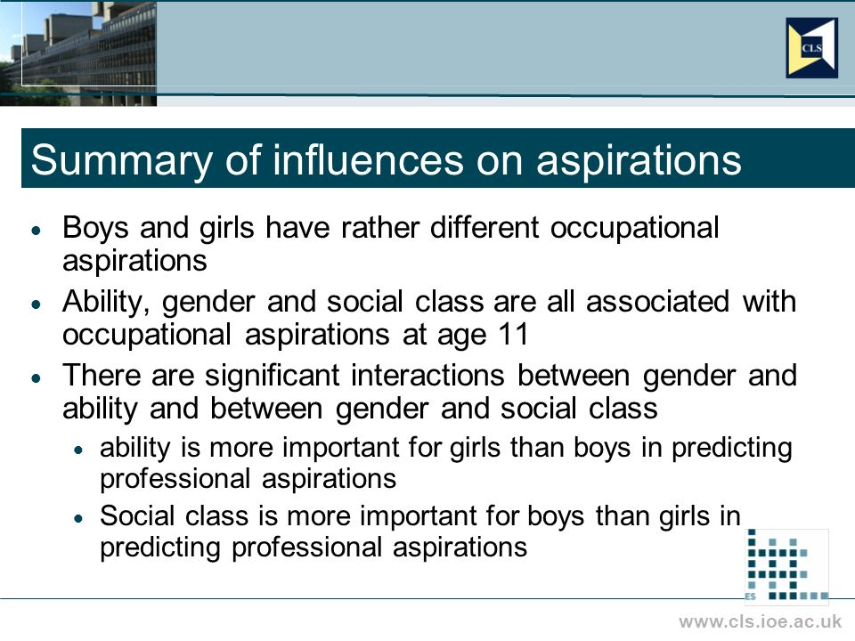 www.cls.ioe.ac.uk Summary of influences on aspirations Boys and girls have rather different occupational aspirations Ability, gender and social class are all associated with occupational aspirations at age 11 There are significant interactions between gender and ability and between gender and social class ability is more important for girls than boys in predicting professional aspirations Social class is more important for boys than girls in predicting professional aspirations