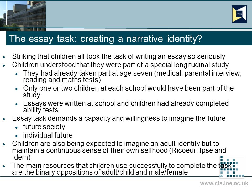 www.cls.ioe.ac.uk The essay task: creating a narrative identity.