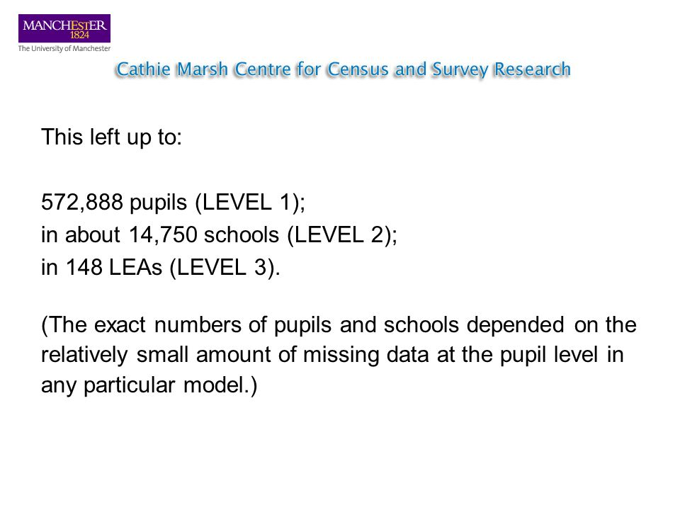 This left up to: 572,888 pupils (LEVEL 1); in about 14,750 schools (LEVEL 2); in 148 LEAs (LEVEL 3). (The exact numbers of pupils and schools depended