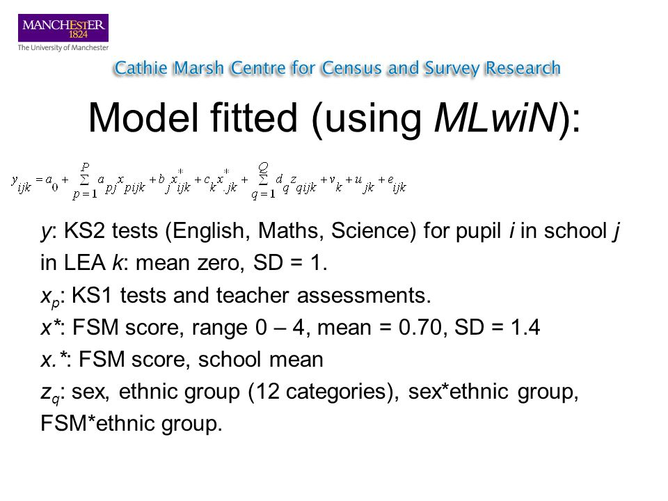 Model fitted (using MLwiN): y: KS2 tests (English, Maths, Science) for pupil i in school j in LEA k: mean zero, SD = 1.