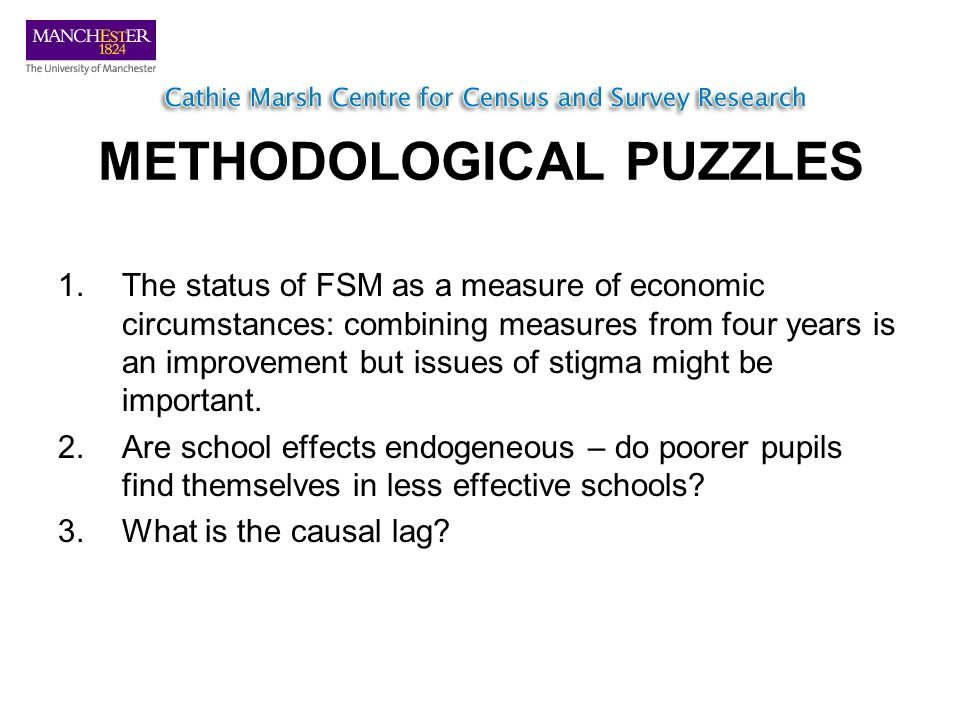 METHODOLOGICAL PUZZLES 1.The status of FSM as a measure of economic circumstances: combining measures from four years is an improvement but issues of