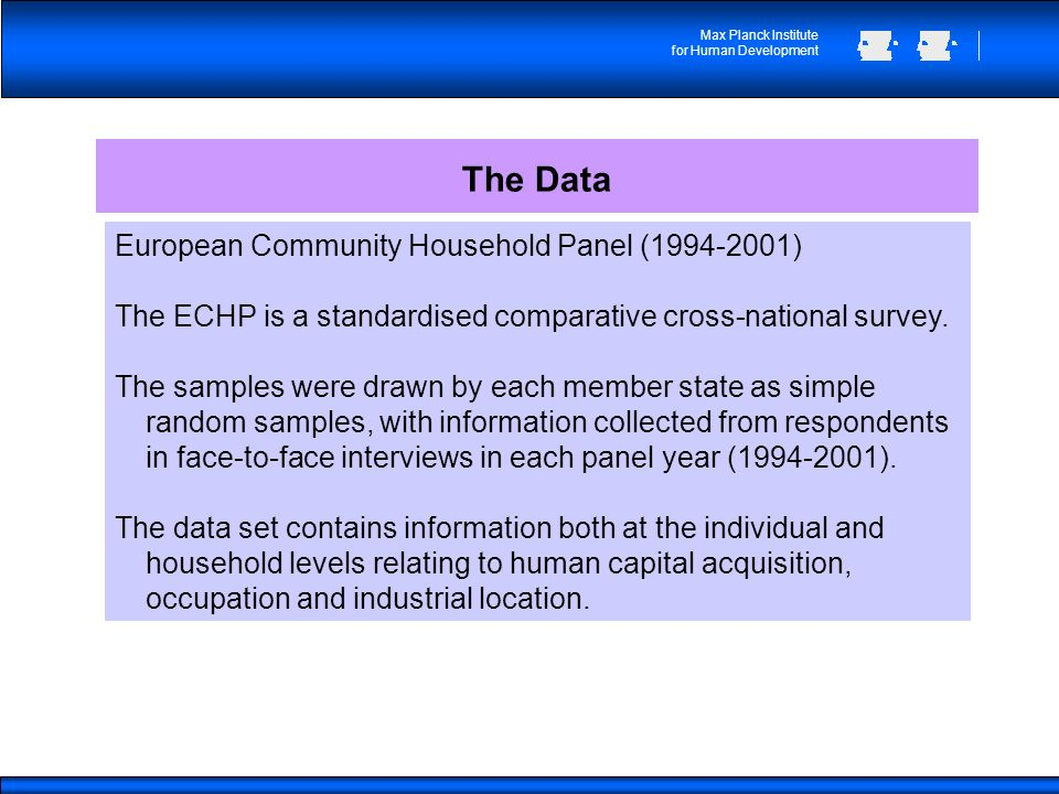 Max Planck Institute for Human Development The Data European Community Household Panel (1994-2001) The ECHP is a standardised comparative cross-national survey.