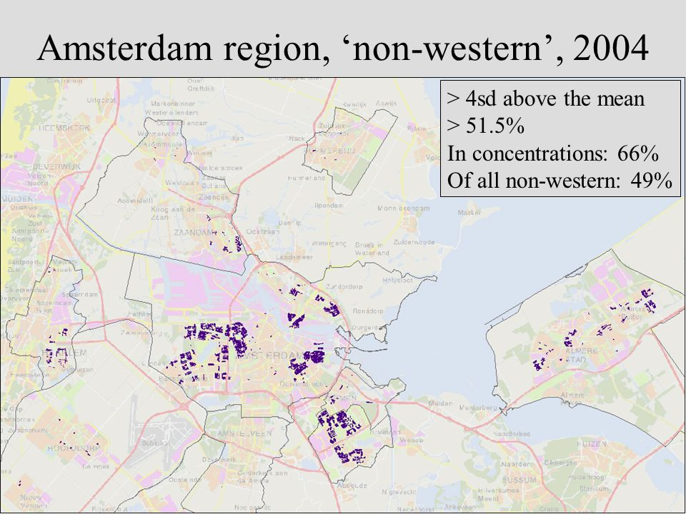 Amsterdam region, non-western, 2004 > 4sd above the mean > 51.5% In concentrations: 66% Of all non-western: 49%