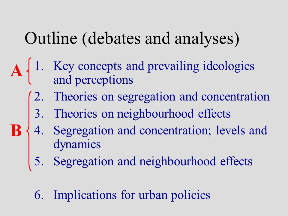 Outline (debates and analyses) 1.Key concepts and prevailing ideologies and perceptions 2.Theories on segregation and concentration 3.Theories on neig