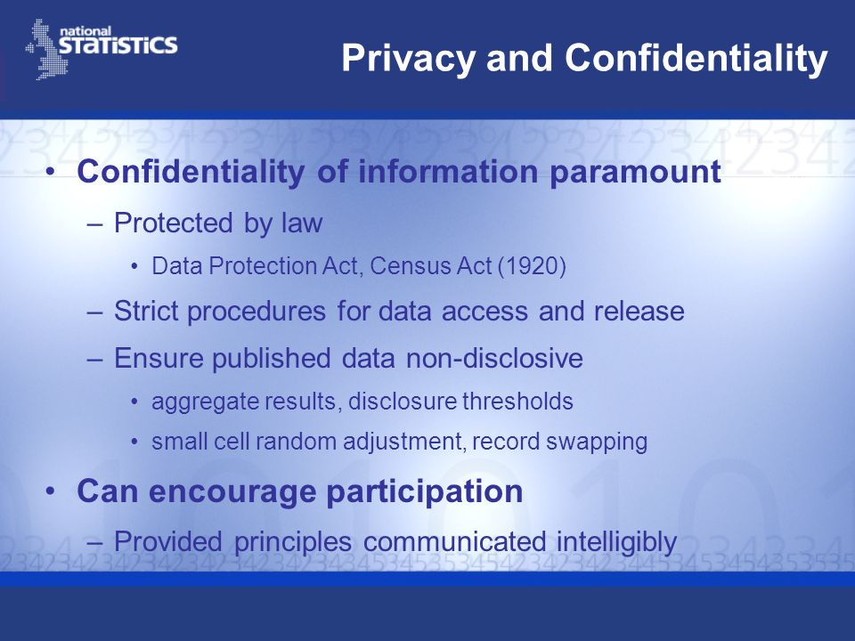 Privacy and Confidentiality Confidentiality of information paramount –Protected by law Data Protection Act, Census Act (1920) –Strict procedures for d