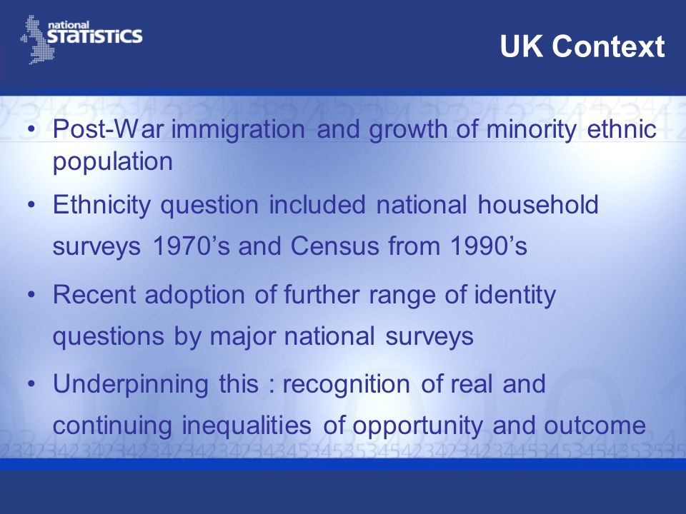 UK Context Post-War immigration and growth of minority ethnic population Ethnicity question included national household surveys 1970s and Census from