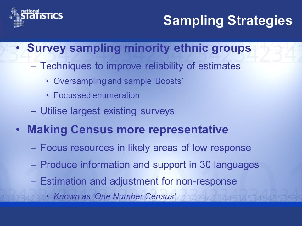 Sampling Strategies Survey sampling minority ethnic groups –Techniques to improve reliability of estimates Oversampling and sample Boosts Focussed enumeration –Utilise largest existing surveys Making Census more representative –Focus resources in likely areas of low response –Produce information and support in 30 languages –Estimation and adjustment for non-response Known as One Number Census