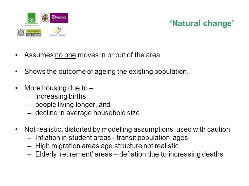 Assumes no one moves in or out of the area. Shows the outcome of ageing the existing population.