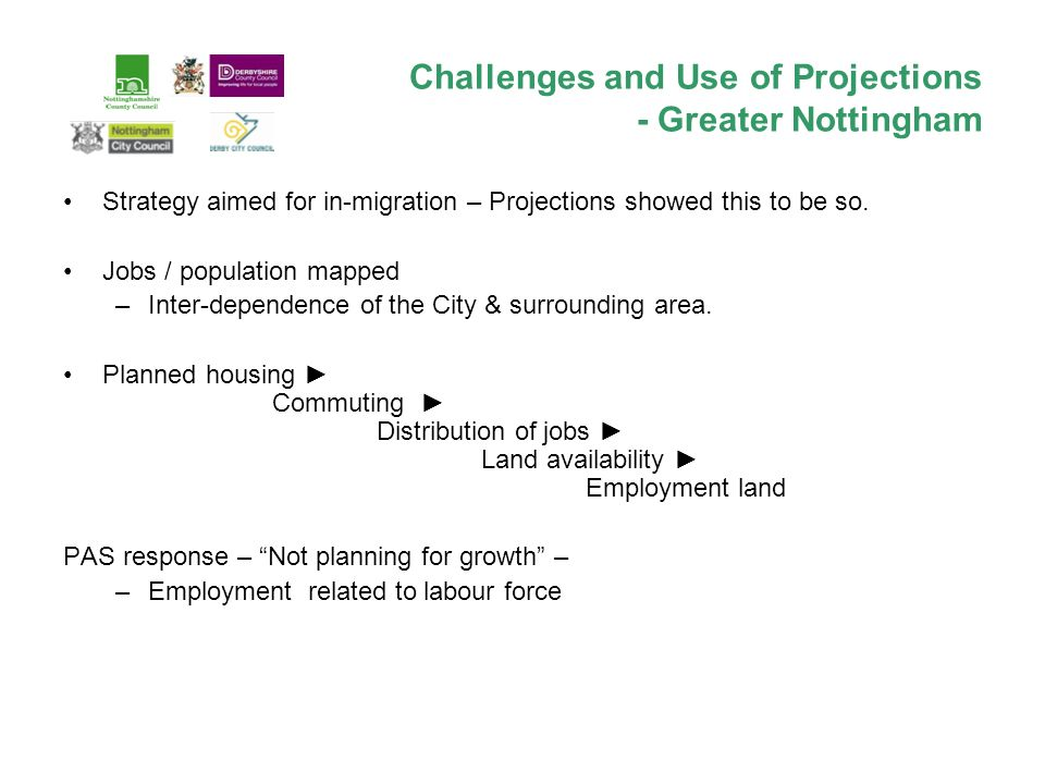 Challenges and Use of Projections - Greater Nottingham Strategy aimed for in-migration – Projections showed this to be so.