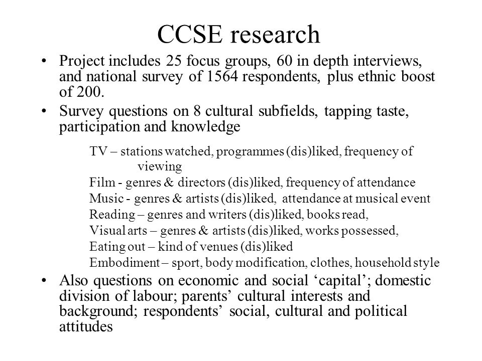 CCSE research Project includes 25 focus groups, 60 in depth interviews, and national survey of 1564 respondents, plus ethnic boost of 200.