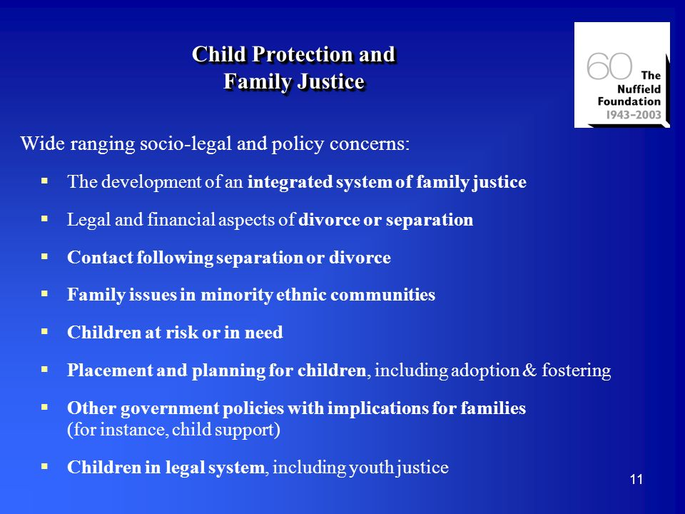 11 Child Protection and Family Justice Wide ranging socio-legal and policy concerns: The development of an integrated system of family justice Legal and financial aspects of divorce or separation Contact following separation or divorce Family issues in minority ethnic communities Children at risk or in need Placement and planning for children, including adoption & fostering Other government policies with implications for families (for instance, child support) Children in legal system, including youth justice