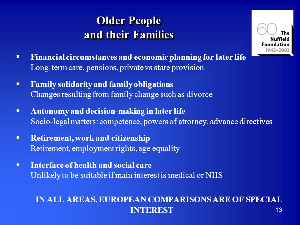 13 Older People and their Families Financial circumstances and economic planning for later life Long-term care, pensions, private vs state provision Family solidarity and family obligations Changes resulting from family change such as divorce Autonomy and decision-making in later life Socio-legal matters: competence, powers of attorney, advance directives Retirement, work and citizenship Retirement, employment rights, age equality Interface of health and social care Unlikely to be suitable if main interest is medical or NHS IN ALL AREAS, EUROPEAN COMPARISONS ARE OF SPECIAL INTEREST