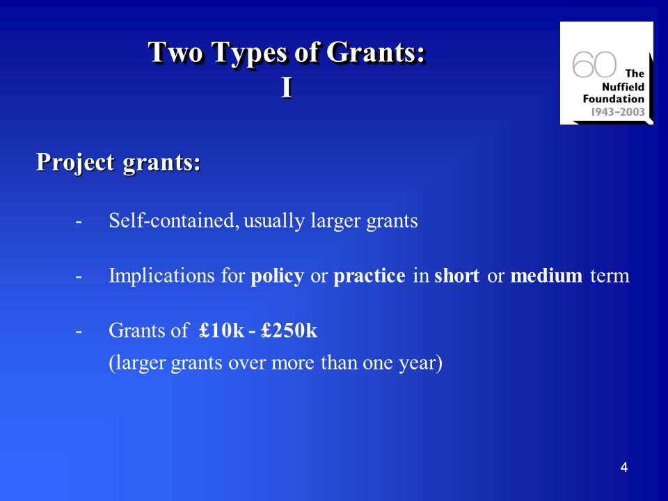 5 Two Types of Grants: II Schemes: -Each has own particular purpose -Mainly science, social science, or Commonwealth -Not linked to policy or practice -Usually for amounts smaller than project grants