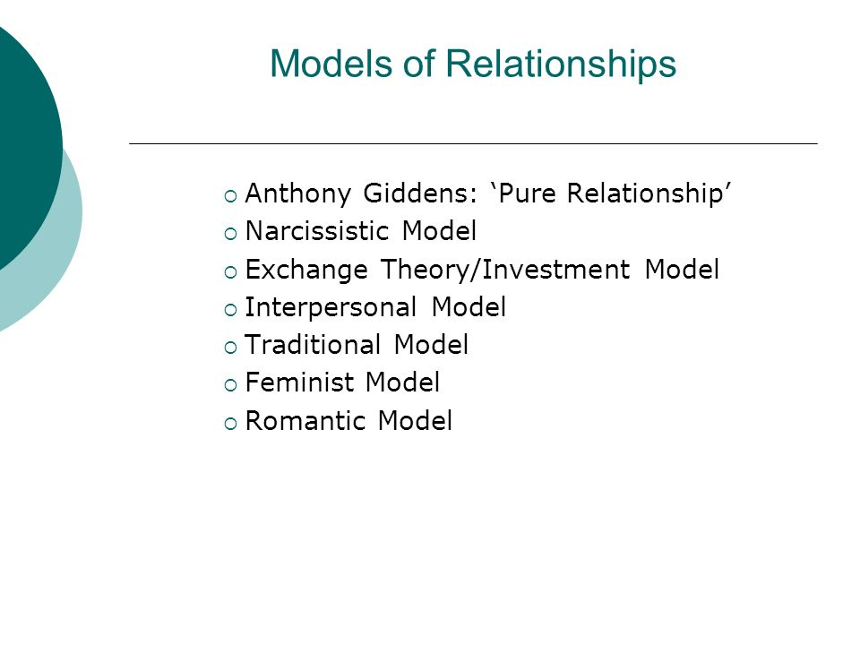 Models of Relationships Anthony Giddens: Pure Relationship Narcissistic Model Exchange Theory/Investment Model Interpersonal Model Traditional Model Feminist Model Romantic Model