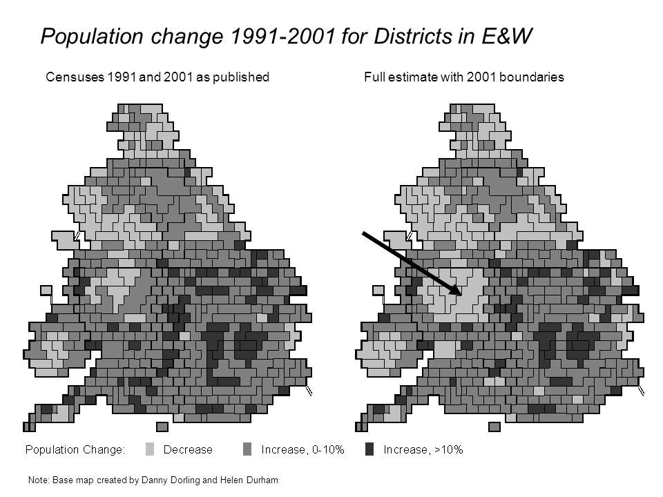 Population change 1991-2001 for Districts in E&W Censuses 1991 and 2001 as publishedFull estimate with 2001 boundaries Note: Base map created by Danny Dorling and Helen Durham