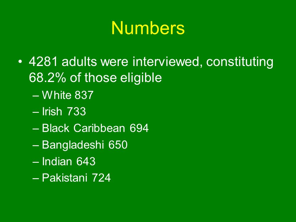 Numbers 4281 adults were interviewed, constituting 68.2% of those eligible –White 837 –Irish 733 –Black Caribbean 694 –Bangladeshi 650 –Indian 643 –Pakistani 724