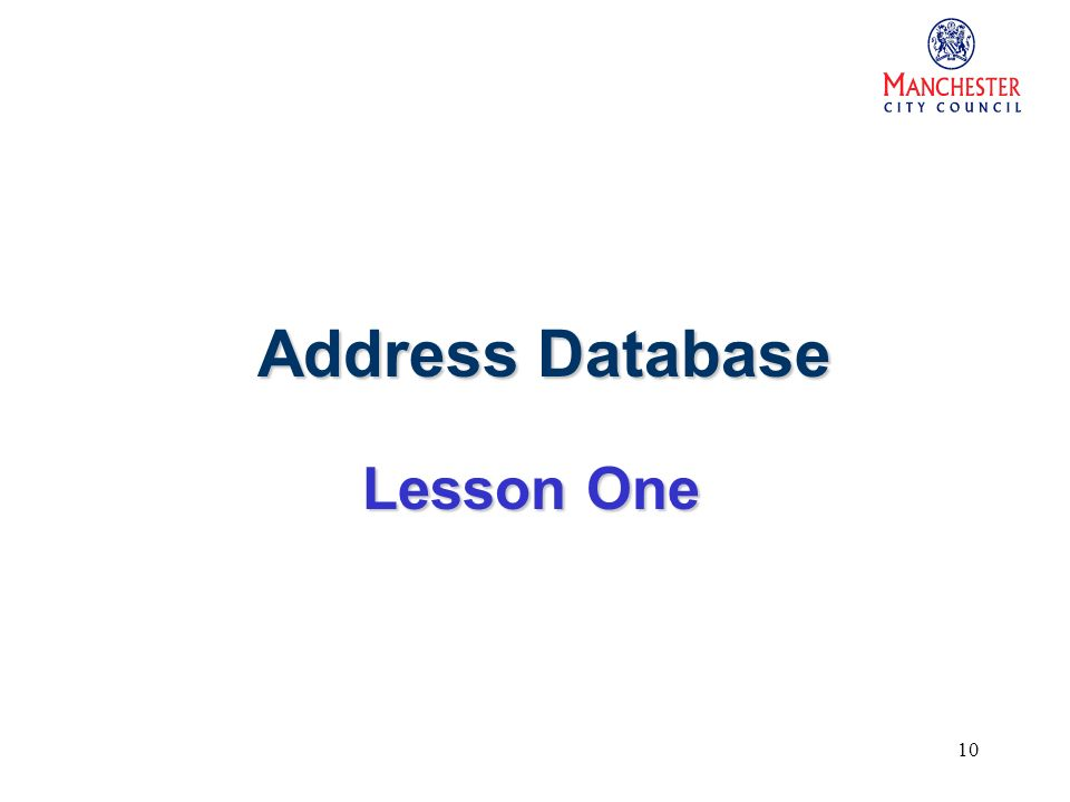 10 Address Database Lesson One