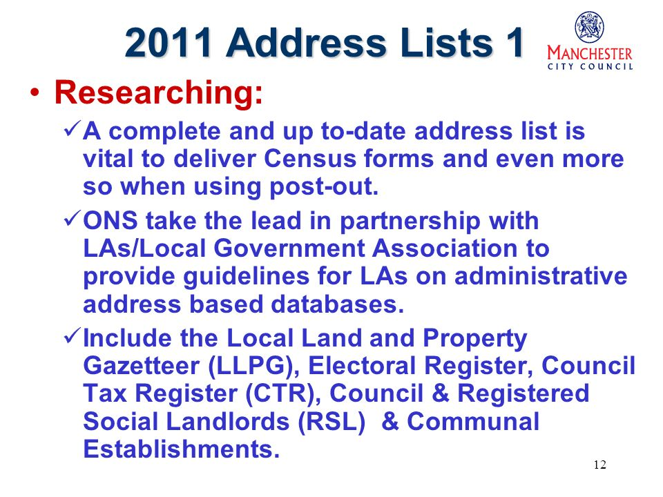 12 2011 Address Lists 1 Researching: A complete and up to-date address list is vital to deliver Census forms and even more so when using post-out.