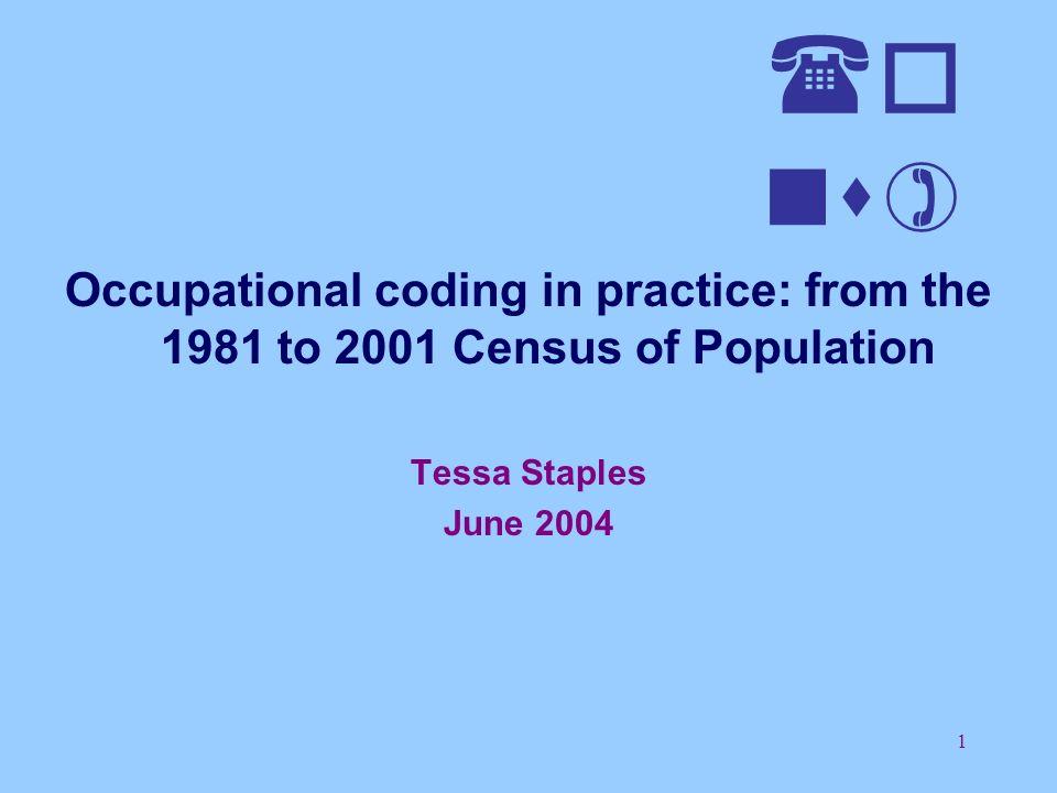 22 Census Occupational Coding 1981 to 2001 1991 Census - CACOC OCCUPATION TITLE: GATEMAN Gateman bridge dock flood lock 503 742 746,749 waterways 750 801,802 Except above