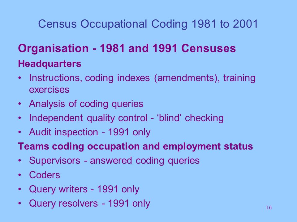 16 Census Occupational Coding 1981 to 2001 Organisation - 1981 and 1991 Censuses Headquarters Instructions, coding indexes (amendments), training exercises Analysis of coding queries Independent quality control - blind checking Audit inspection - 1991 only Teams coding occupation and employment status Supervisors - answered coding queries Coders Query writers - 1991 only Query resolvers - 1991 only