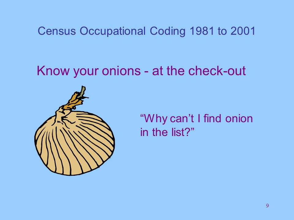 10 Know your onions - at the check-out Because listed as Brown onion Census Occupational Coding 1981 to 2001