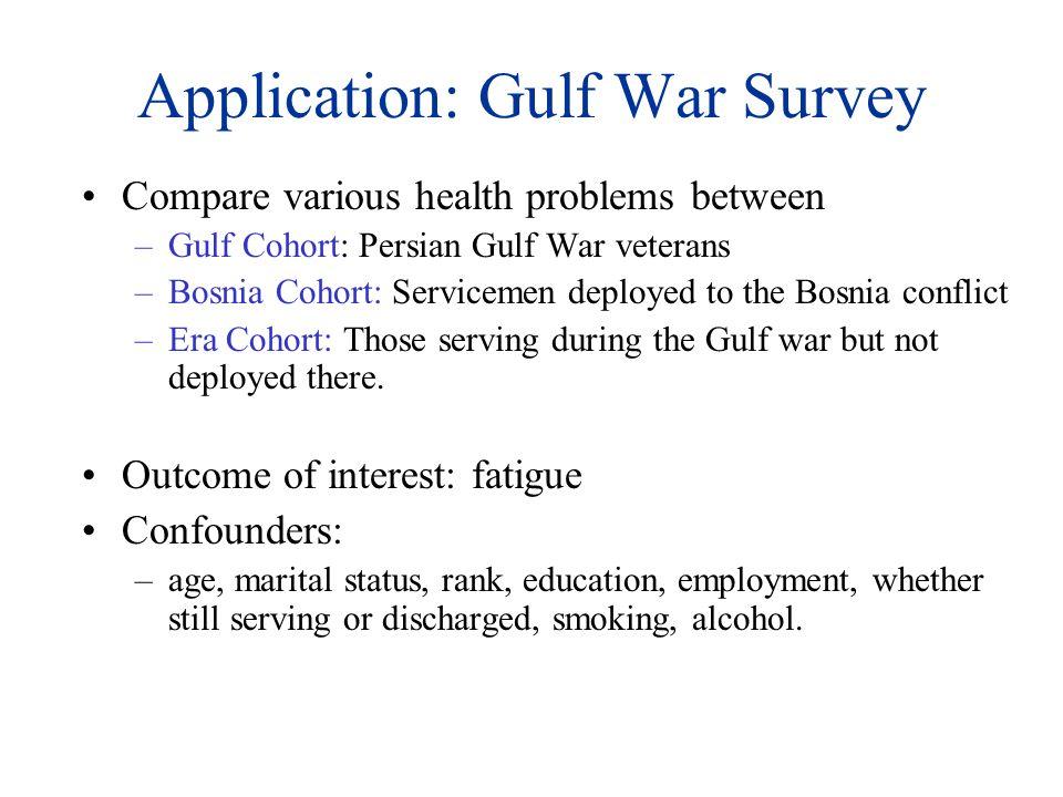 Application: Gulf War Survey Compare various health problems between –Gulf Cohort: Persian Gulf War veterans –Bosnia Cohort: Servicemen deployed to th