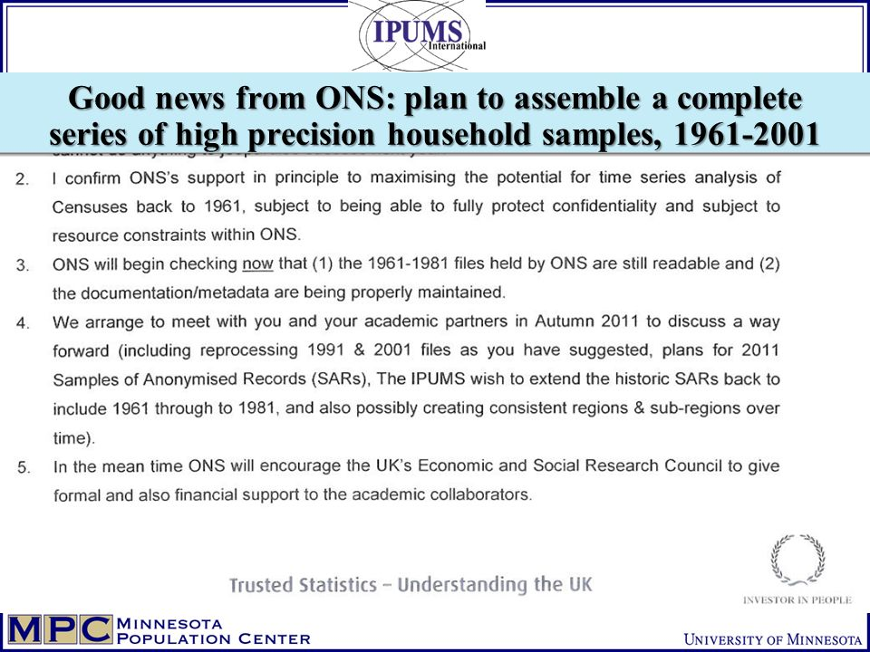 Good news from ONS: plan to assemble a complete series of high precision household samples,