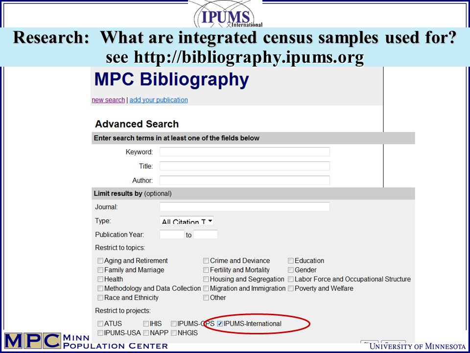 Research: What are integrated census samples used for see