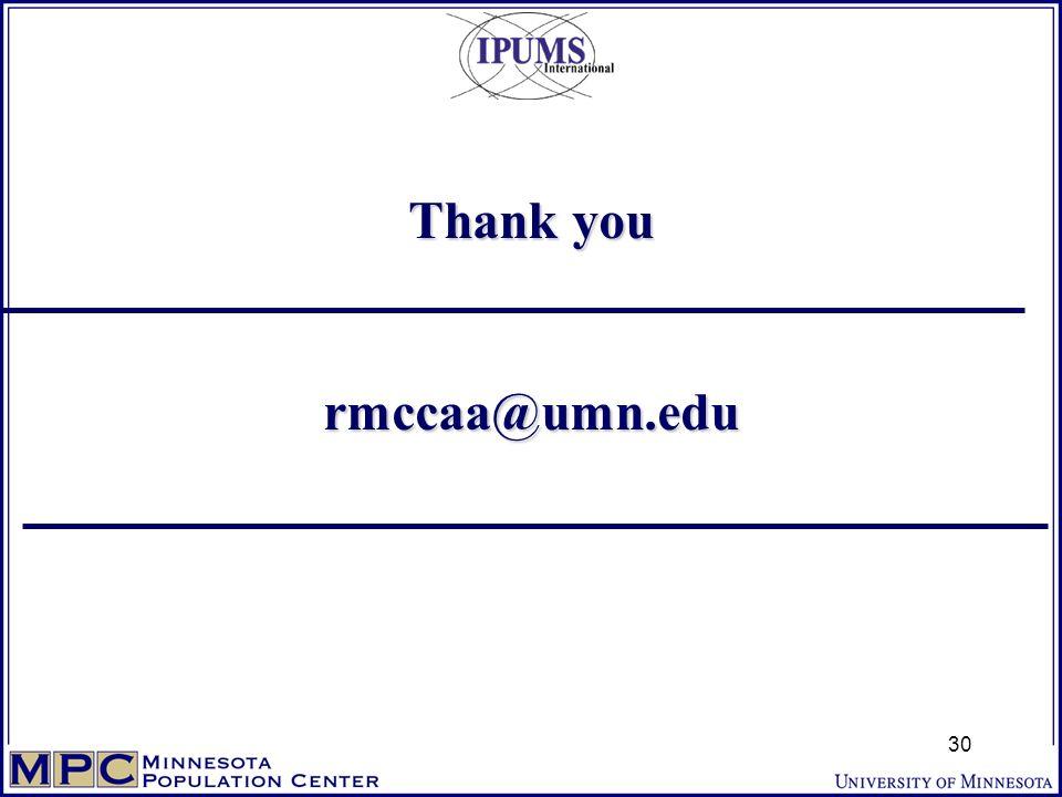 Thank you rmccaa@umn.edu 30