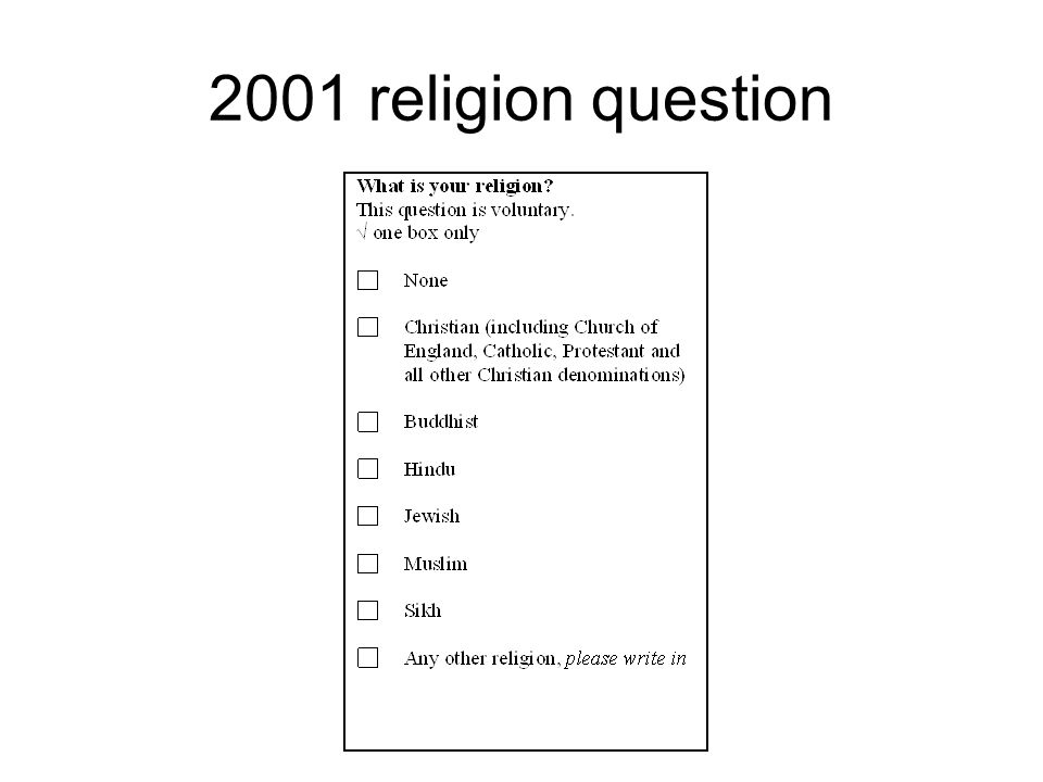 2001 religion question