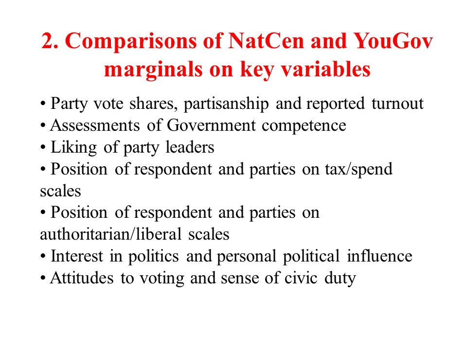 2. Comparisons of NatCen and YouGov marginals on key variables Party vote shares, partisanship and reported turnout Assessments of Government competen