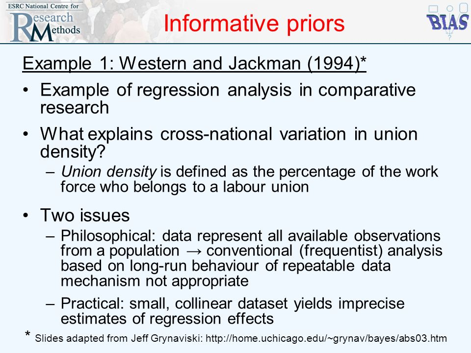 Informative priors Example 1: Western and Jackman (1994)* Example of regression analysis in comparative research What explains cross-national variatio