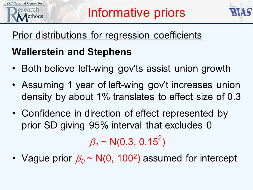 Informative priors Prior distributions for regression coefficients Wallerstein and Stephens Both believe left-wing govts assist union growth Assuming