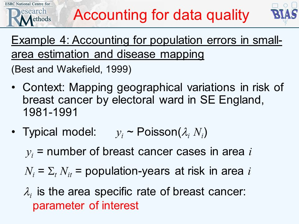 Accounting for data quality Example 4: Accounting for population errors in small- area estimation and disease mapping (Best and Wakefield, 1999) Conte