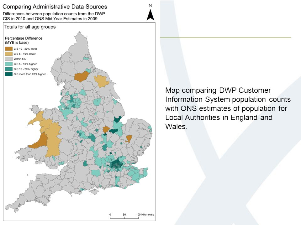 Map comparing DWP Customer Information System population counts with ONS estimates of population for Local Authorities in England and Wales.