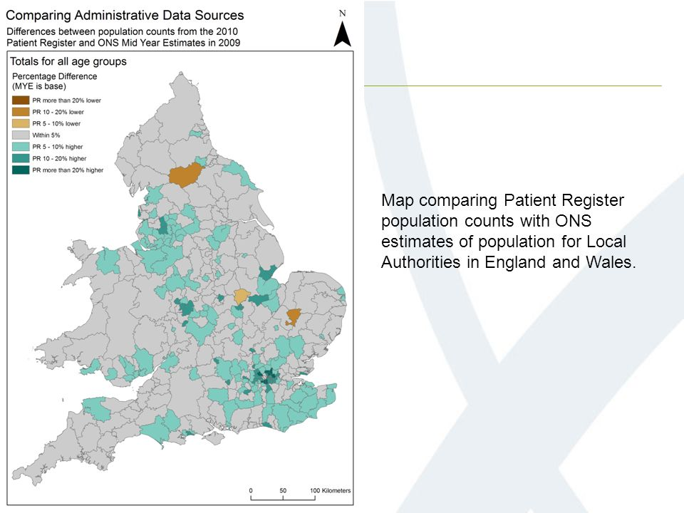 Map comparing Patient Register population counts with ONS estimates of population for Local Authorities in England and Wales.