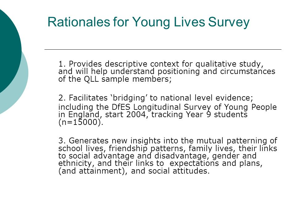 Rationales for Young Lives Survey 1.