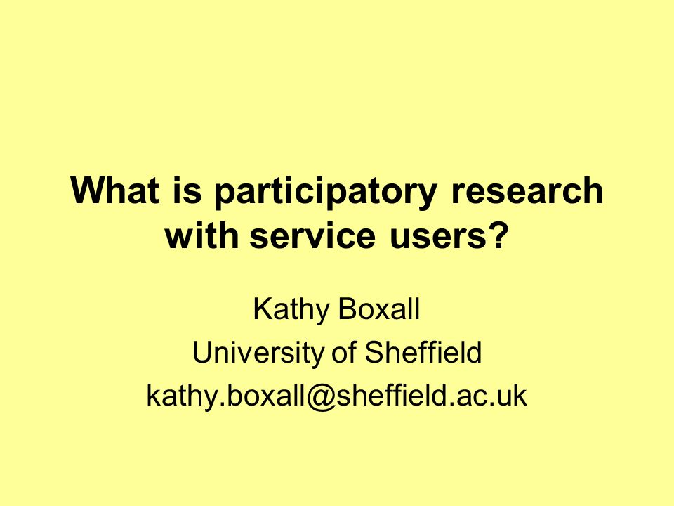 What is participatory research with service users.