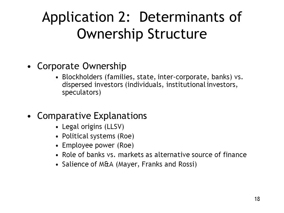 18 Application 2: Determinants of Ownership Structure Corporate Ownership Blockholders (families, state, inter-corporate, banks) vs.