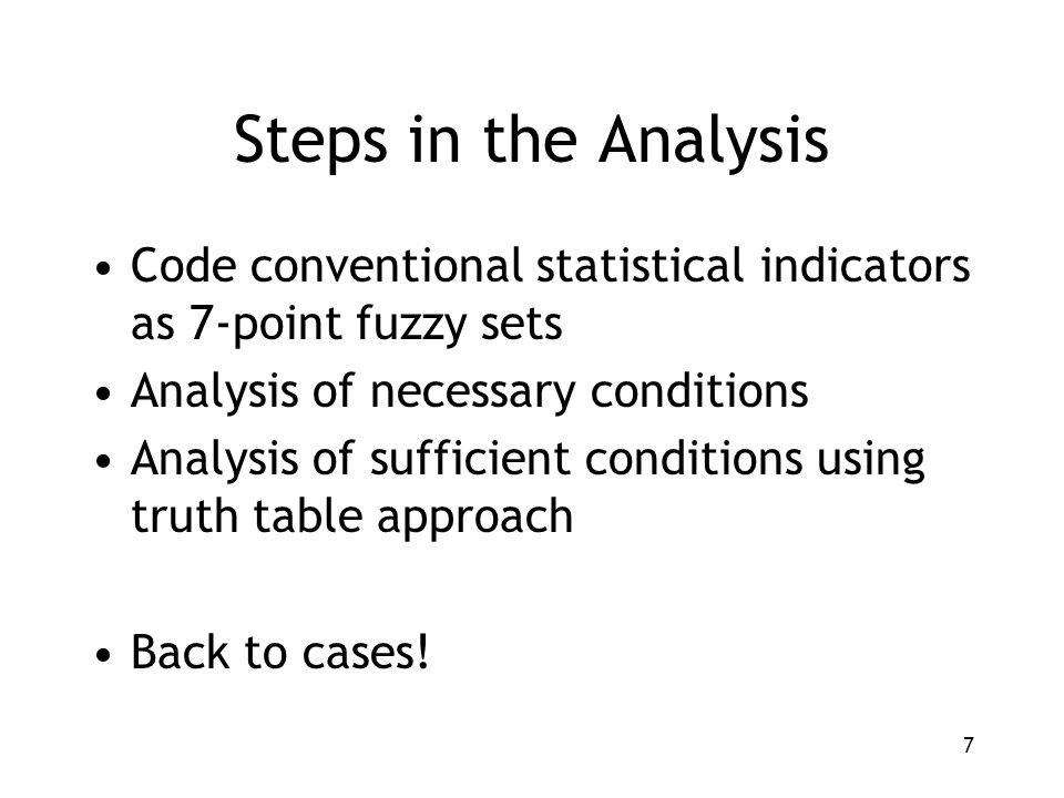 7 Steps in the Analysis Code conventional statistical indicators as 7-point fuzzy sets Analysis of necessary conditions Analysis of sufficient conditions using truth table approach Back to cases!