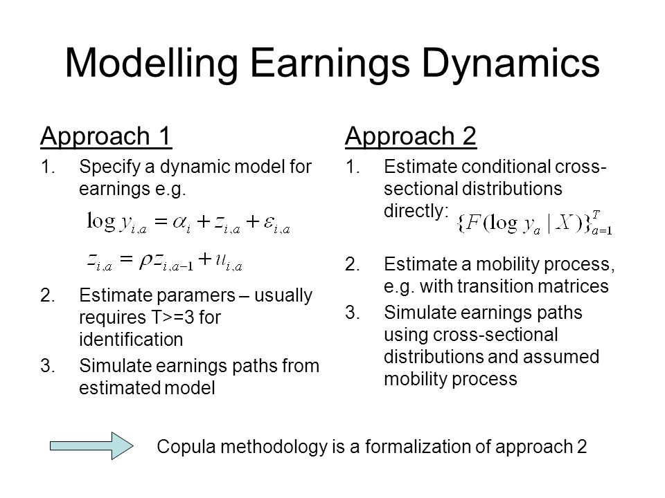 Modelling Earnings Dynamics Approach 1 1.Specify a dynamic model for earnings e.g.