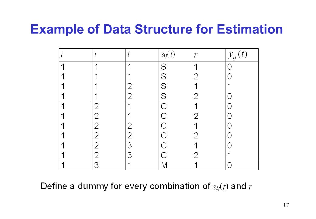 17 Example of Data Structure for Estimation