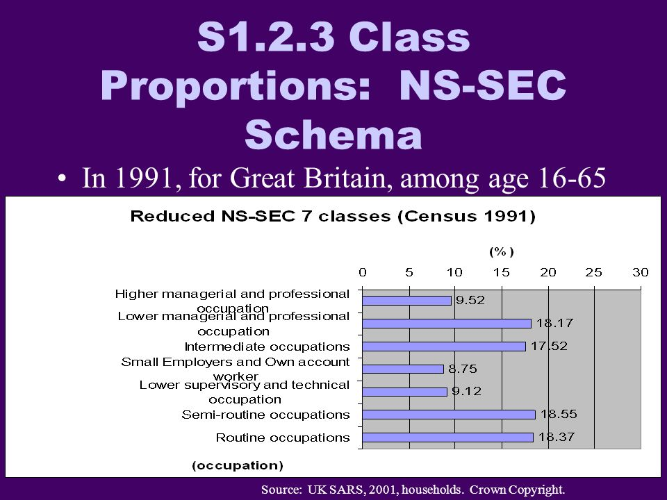 S1.2.3 Class Proportions: NS-SEC Schema In 1991, for Great Britain, among age 16-65 Source: UK SARS, 2001, households.