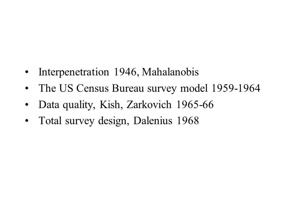 Interpenetration 1946, Mahalanobis The US Census Bureau survey model 1959-1964 Data quality, Kish, Zarkovich 1965-66 Total survey design, Dalenius 196