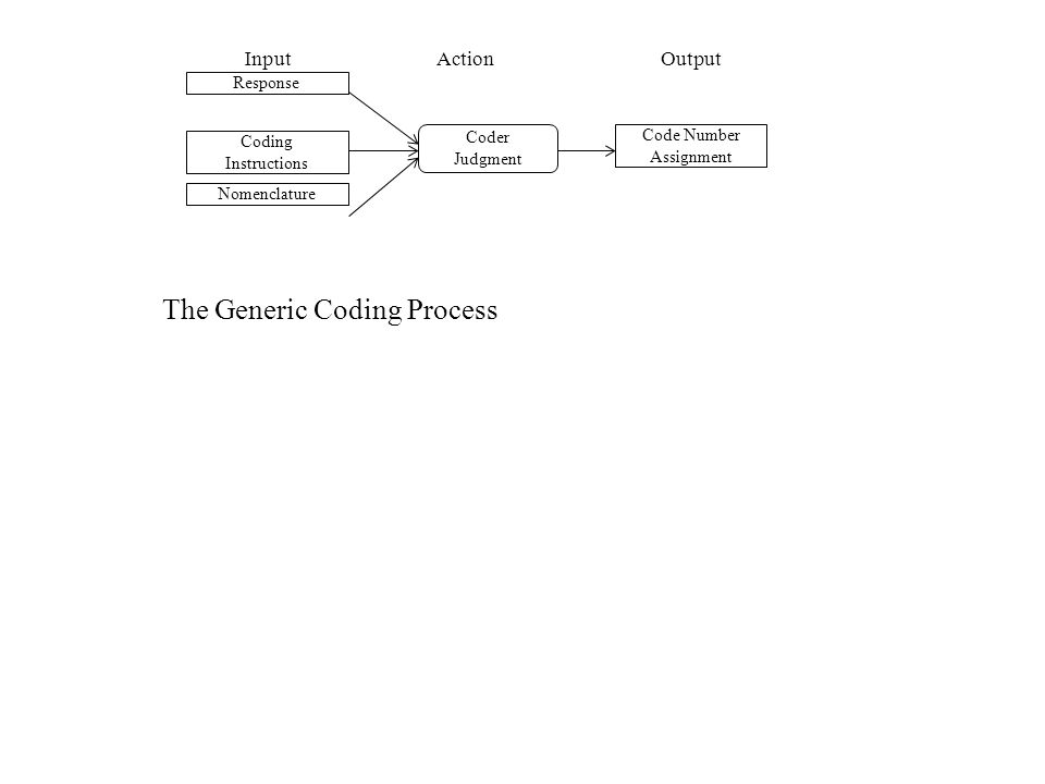 InputActionOutput Response Coding Instructions Nomenclature Coder Judgment Code Number Assignment The Generic Coding Process