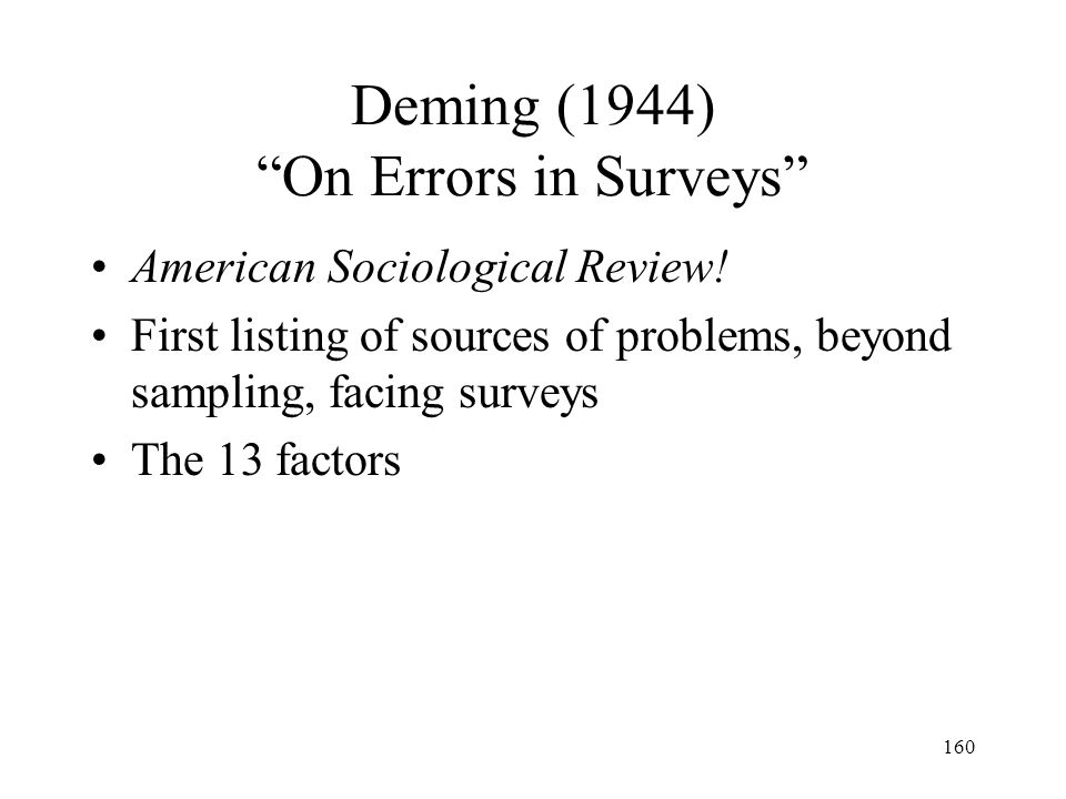 160 Deming (1944) On Errors in Surveys American Sociological Review! First listing of sources of problems, beyond sampling, facing surveys The 13 fact