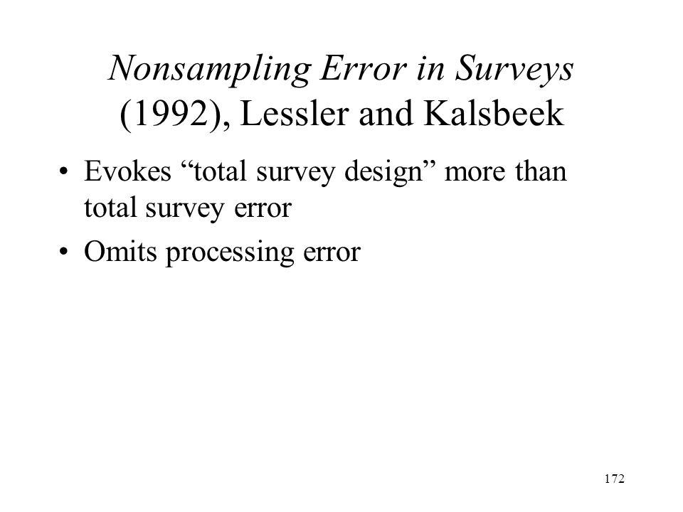 172 Nonsampling Error in Surveys (1992), Lessler and Kalsbeek Evokes total survey design more than total survey error Omits processing error