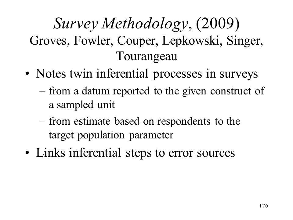 176 Survey Methodology, (2009) Groves, Fowler, Couper, Lepkowski, Singer, Tourangeau Notes twin inferential processes in surveys –from a datum reporte