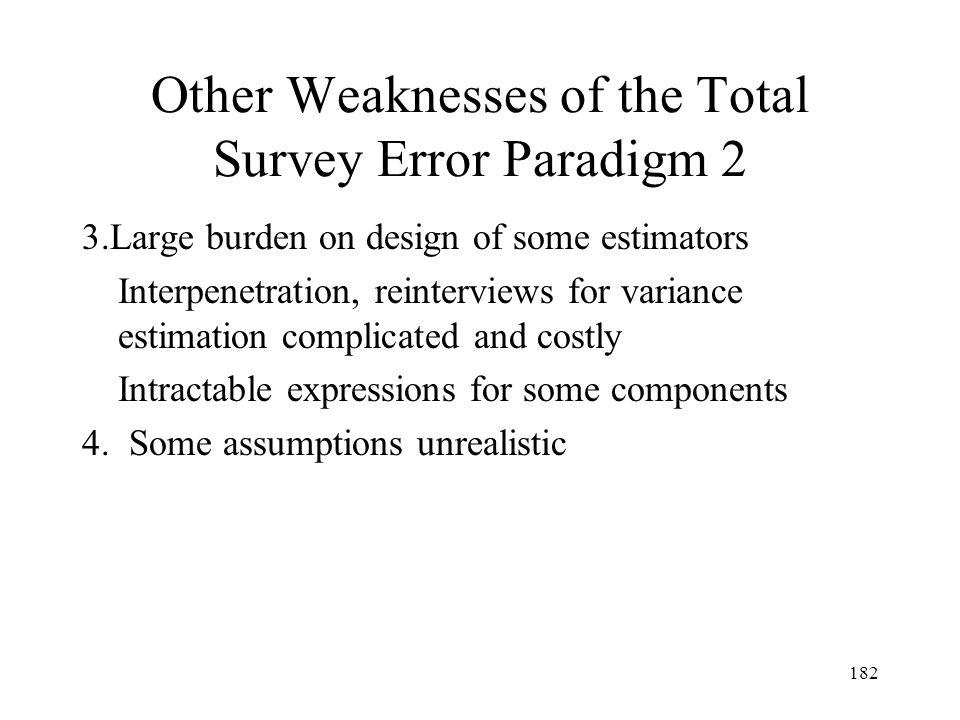 182 Other Weaknesses of the Total Survey Error Paradigm 2 3.Large burden on design of some estimators Interpenetration, reinterviews for variance esti